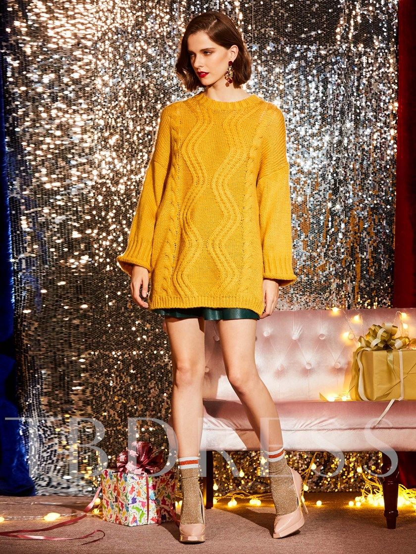 Loose Round Neck Mid-Length Pullover Classy Christmas Sweaters for Women
