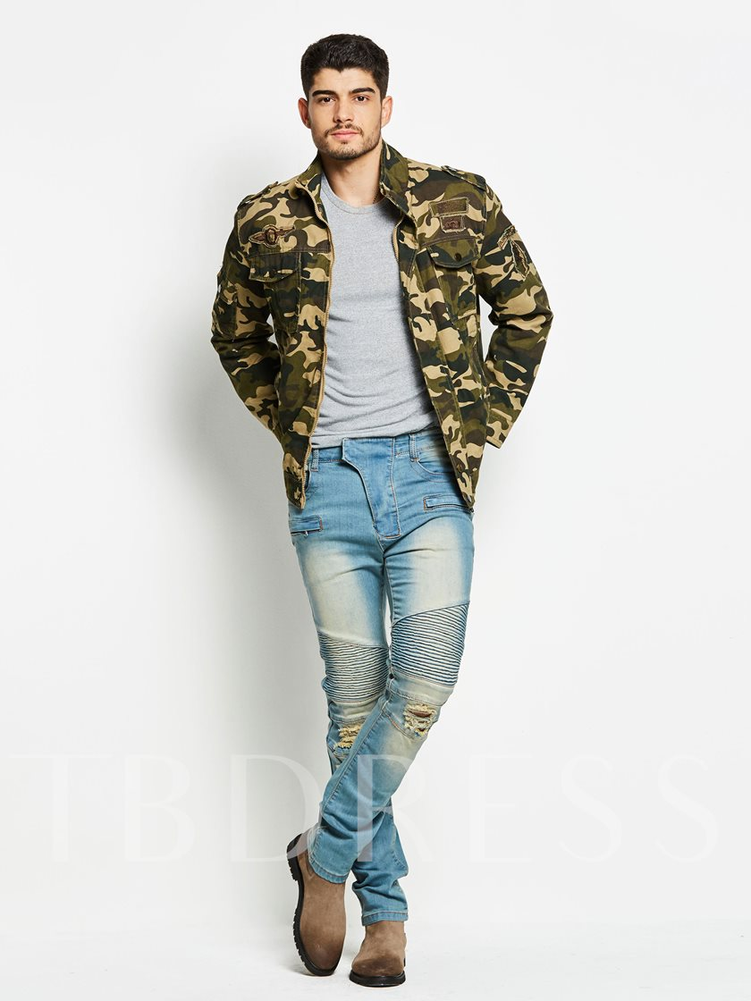 Stand Collar Camouflage Zipper Slim Fit Casual Men's Jacket