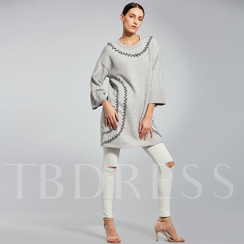 Loose Stripe Patchwork Pullover Women's Sweater