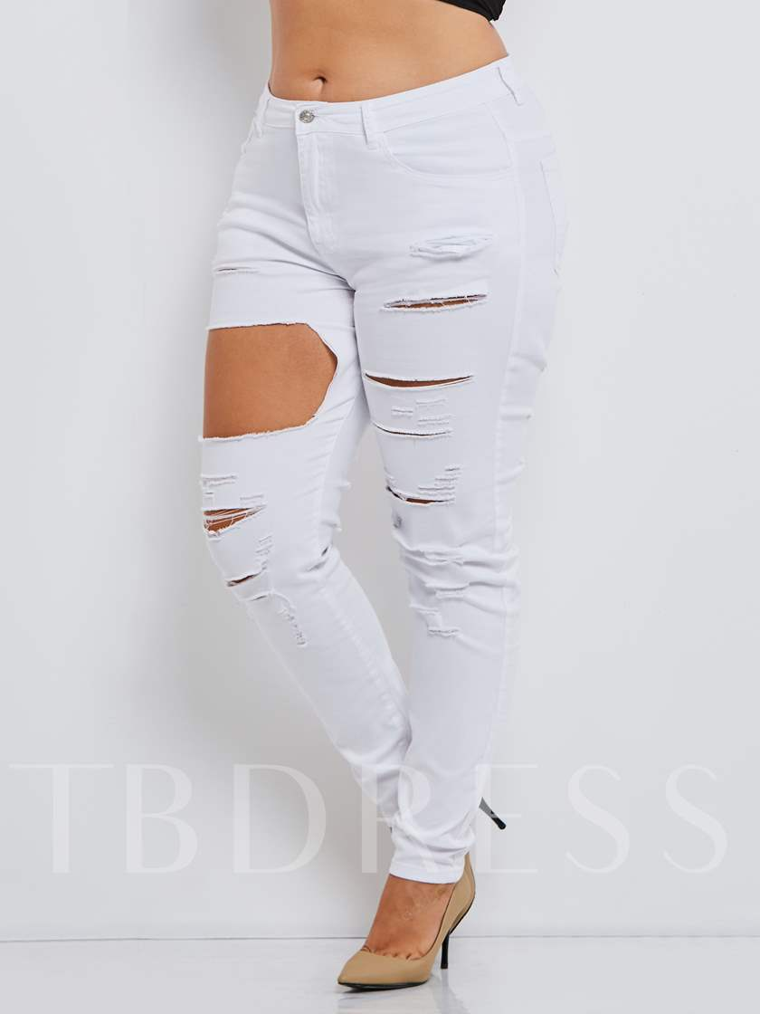High-Waist Plain Hole Skinny Women's Jeans