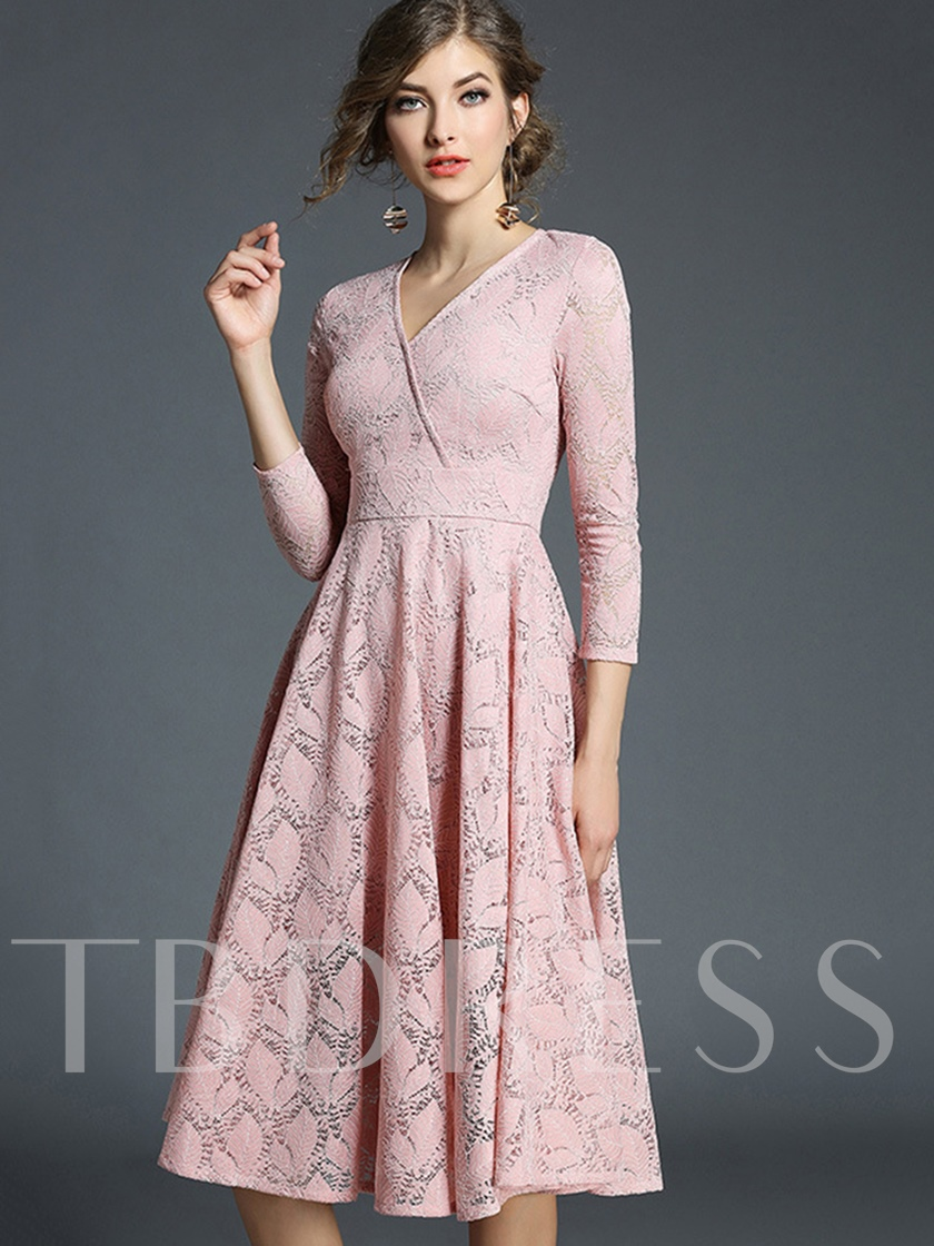 3/4 Sleeve Solid Color Women's Lace Dress