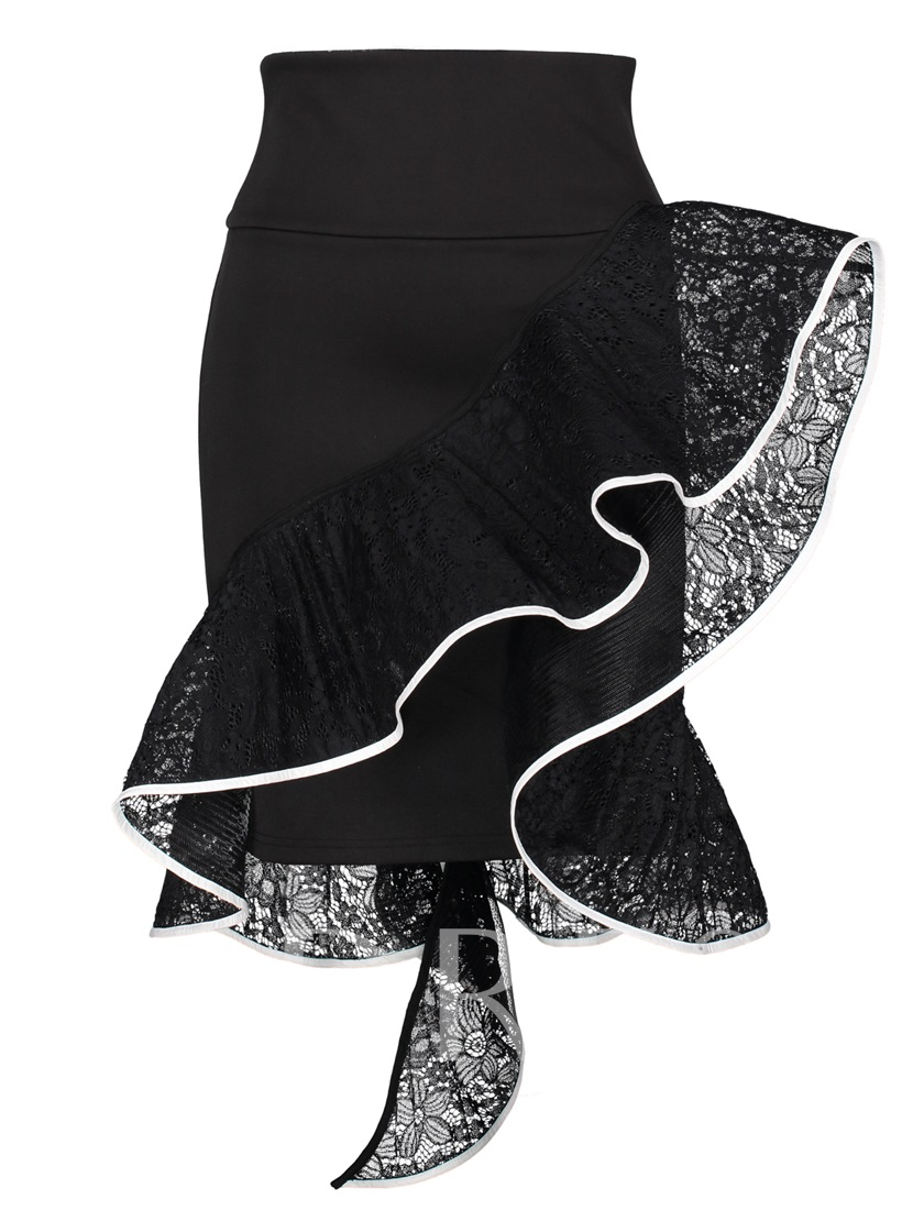 Asymmetric Lace Knee-Length Women's Skirt