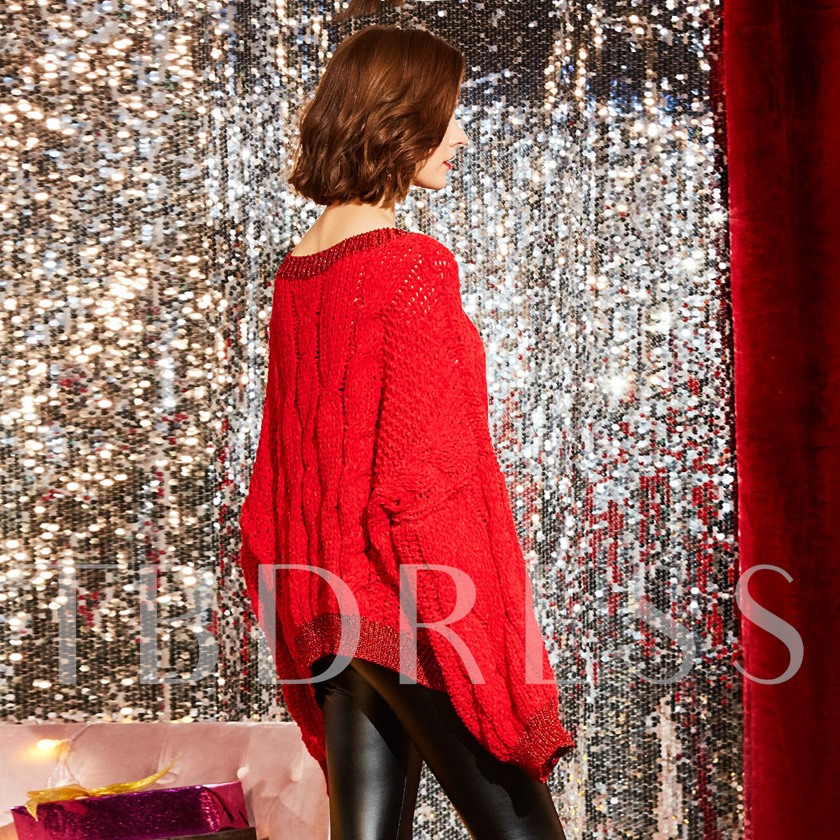 Classy Christmas Sweaters Loose Round Neck Jacquard Weave Women's Sweater
