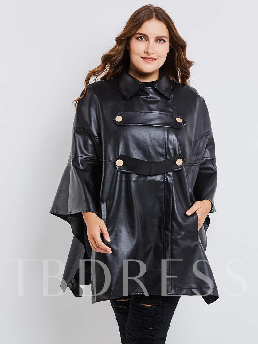 Batwing Sleeve Zipper Plus Size Women's PU Jacket