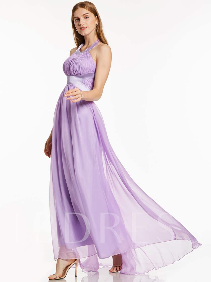 Halter Neck A-Line Draped Chiffon Evening Dress
