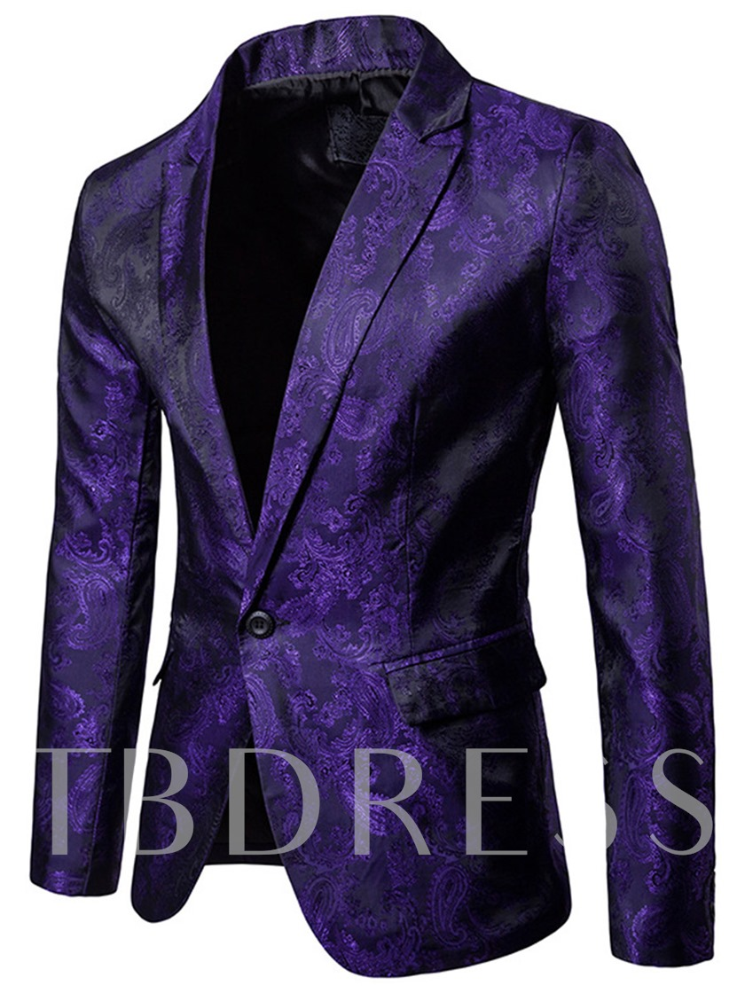 Notched Collar Plain Slim Fit Leisure Men's Blazer