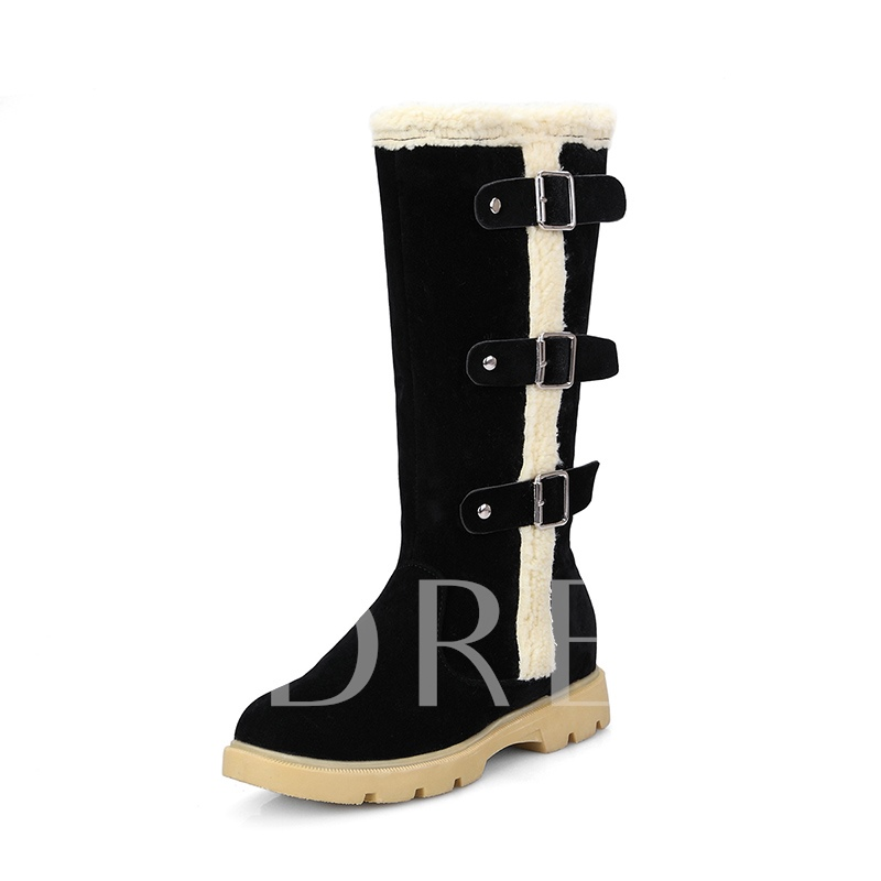 Side Zipper Buckle Short Floss Platform Women's Half Snow Boots