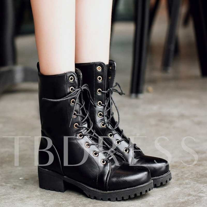 Buy Chunky Heel Lace Up Short Floss Women's Martin Boots, Spring,Fall,Winter, 13066724 for $39.99 in TBDress store