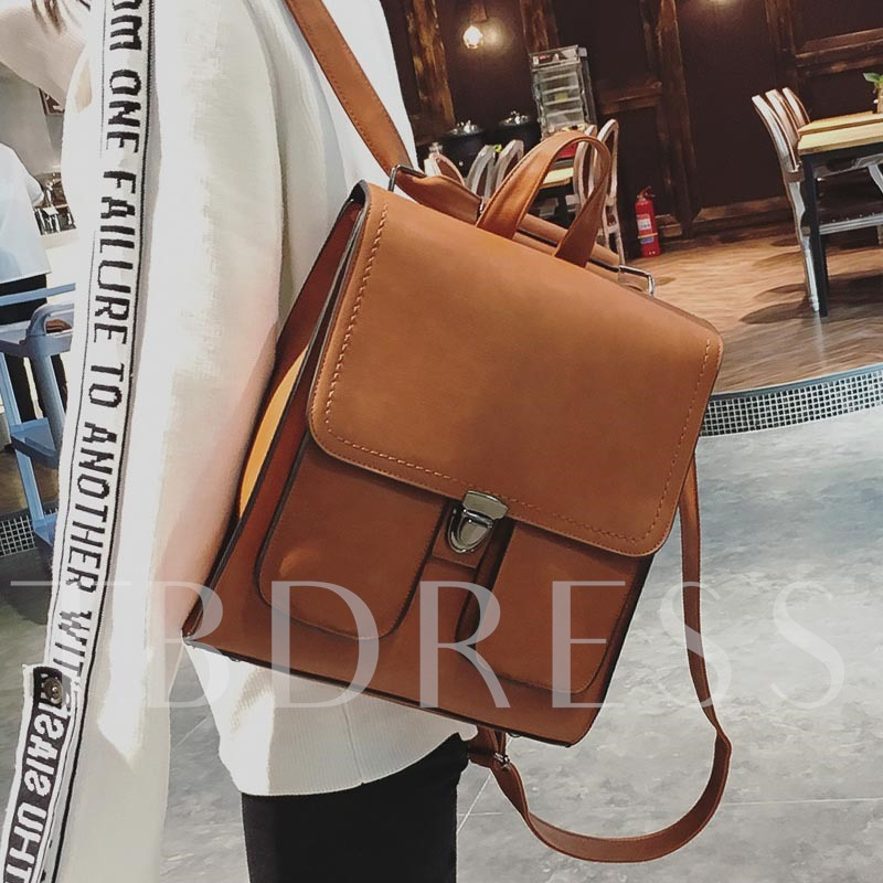Casual Solid Color Women Backpack