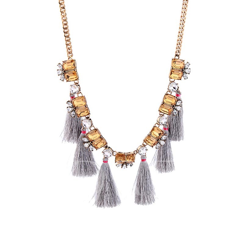 Tassel Rhinestone Horsewhip Square Necklace