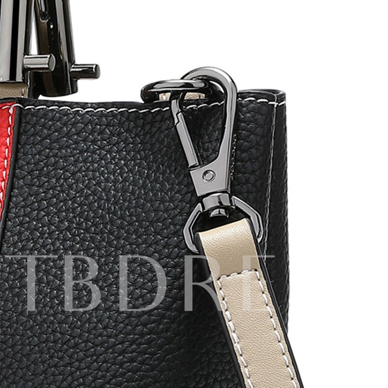 Korean Style Color Block Patchwork Zipper Handbag