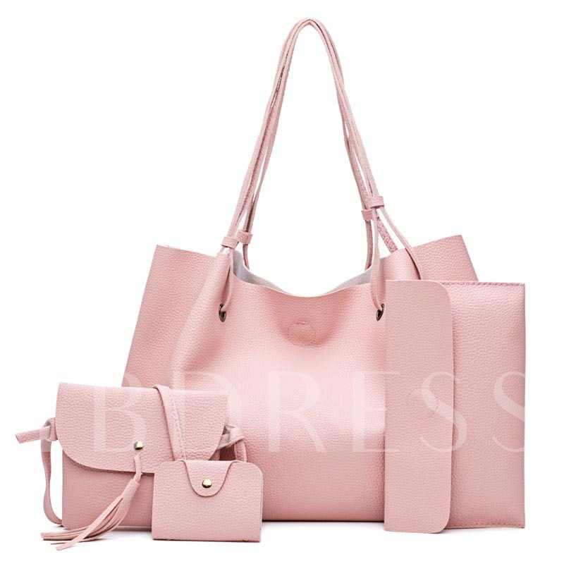 Solid Color Soft PU Zipper Bag Set (3 Bag Set)