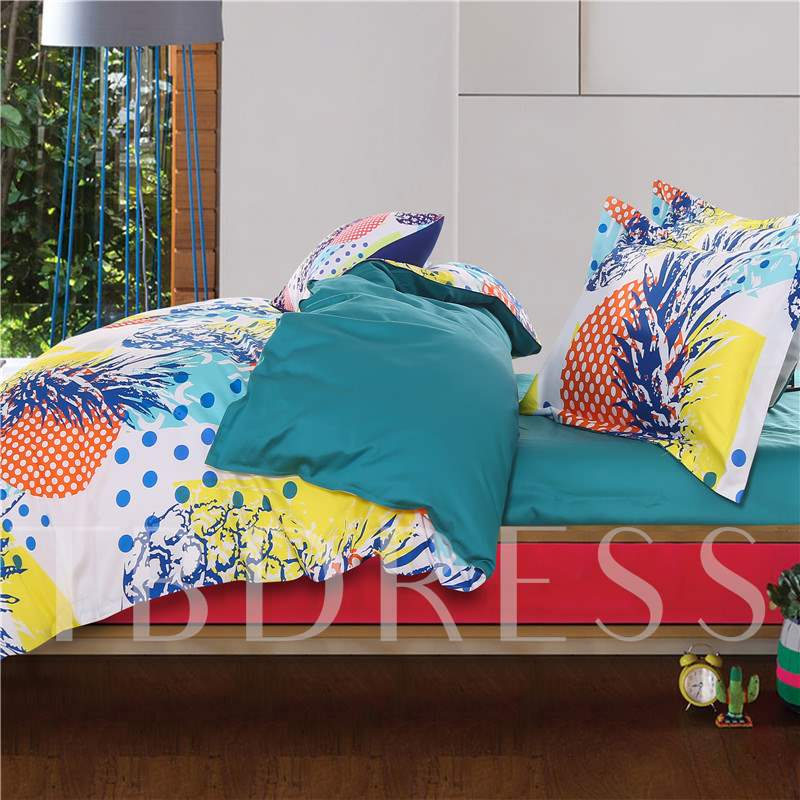 Pineapple and Colorful Polka Dots 4-Piece Cotton Bedding Sets