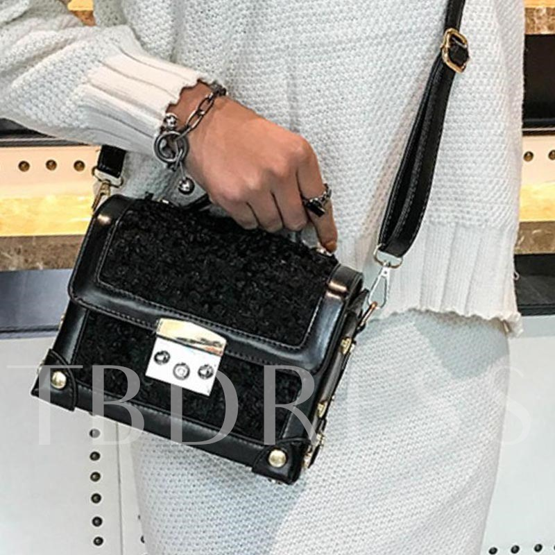 Fashion Latch Decoration Plush Cross Body Bag
