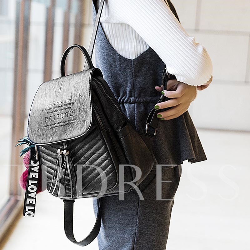 Casual Embossing Delicate Pendant Backpack