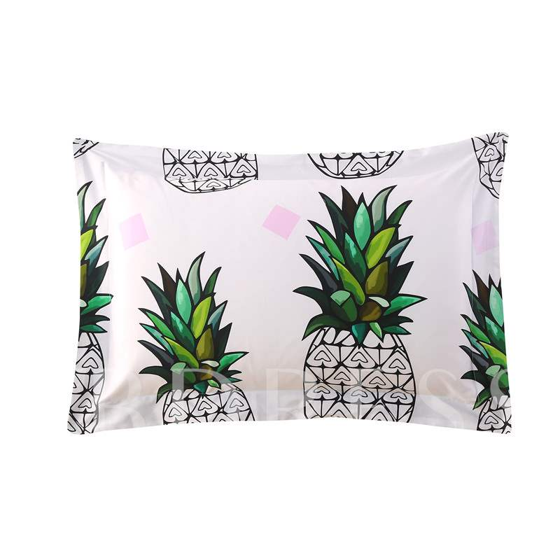 Pineapples with Green Leaves 4-Piece White Cotton Bedding Sets/Duvet Cover