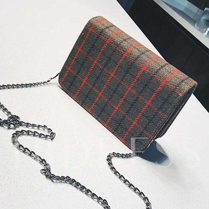 Classical Plaid Lock Decoration Cross Body Bag
