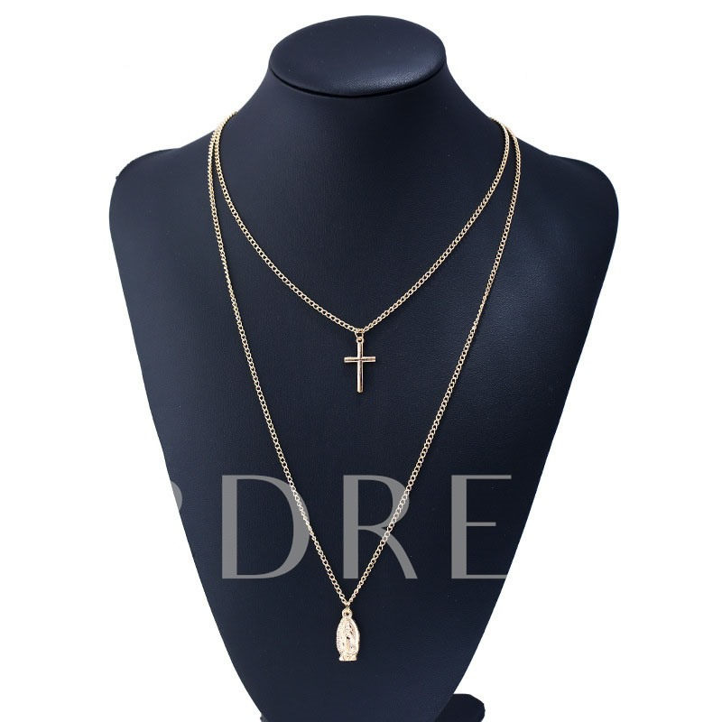Madonna Overgild Cross Link Chain Double Necklace