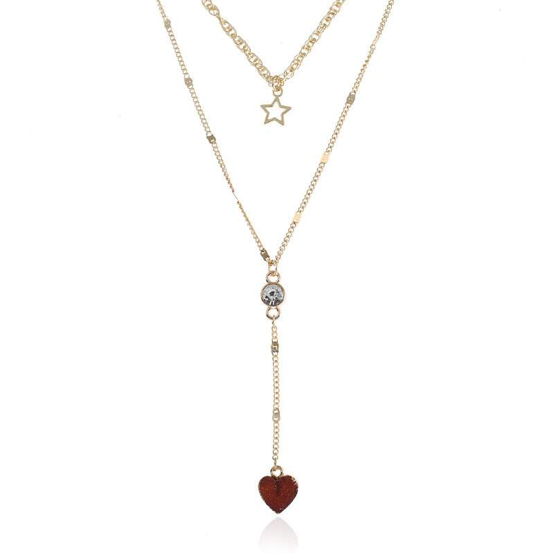 Pentagram Heart Round Alloy Diamante Necklace