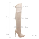 Over-The-Knee Cotton Stiletto Heel Slip-On Women's Casual Boots