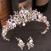 Rhinestone Hollow Out Pink Jewelry Sets