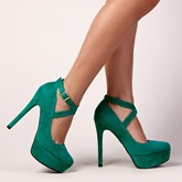 Kelly Green Cross Buckle Platform Pumps