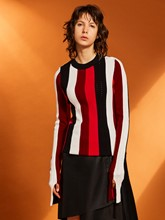 Slim Color Block Stripe Flare Sleeve Women's Sweater