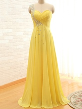 One-Shoulder Rhinestone Pleats A-Line Prom Dress