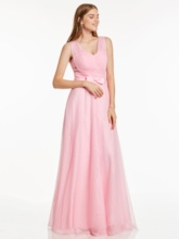 V Neck Pleats A Line Evening Dress