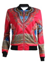 Long Sleeve Zipper Dashiki Jackets For Women