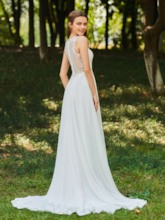 V-Neck Sequined Appliques Chiffon Beach Wedding Dress