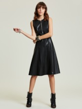 Black Pu Zippered Women's Day Dress