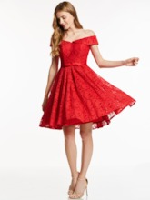 Ribbons A-Line Lace Off-the-Shoulder Knee-Length Cocktail Dress