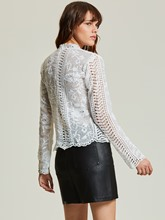 Stand Collar Hollow Lace Women's Blouse