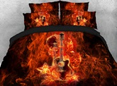 Fiery Guitar and Skull Printed Cotton 4-Piece 3D Bedding Sets/Duvet Covers