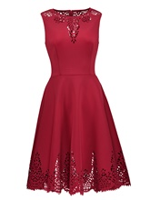 Dark Red Back Zipper Hollow Women's Day Dress