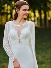 Appliques Sheath Wedding Dress with Long Sleeve Jacket