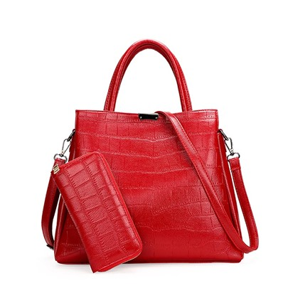 Fashion Solid Color Embossing Women Satchel