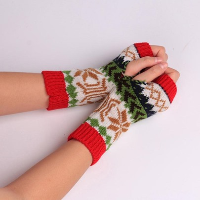 Christmas Colorful Color Block Mitt Gloves