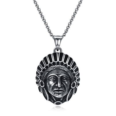 Punk Link Chain Indian Silver Plated Maya Vintage Men's Necklace