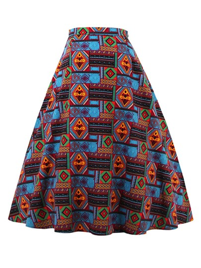 Retro Color Block A-Line Women's Skirt