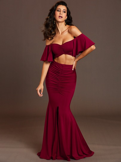 Plain Pleated Floor-Length Women's Two Piece Outfits