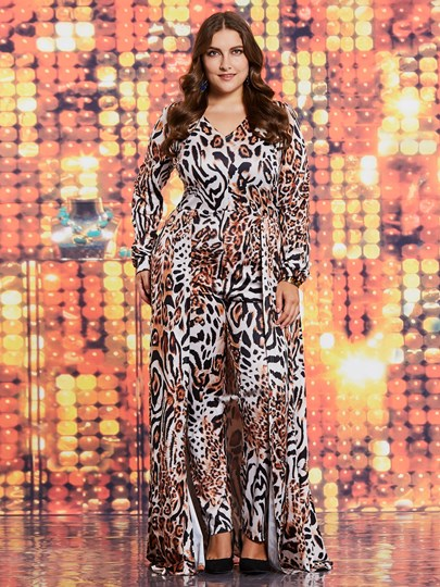 Slim Sexy Leopard Plus Size Women's Jumpsuits
