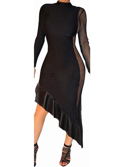 Black Patchwork Asym Women's Sexy Dress