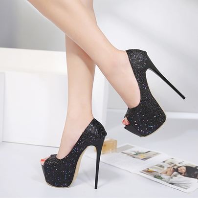 Peep Toe Platform Sequin Pumps Women's