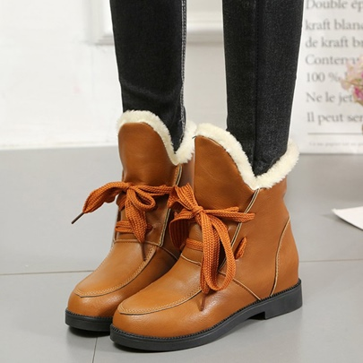 PU Lace Up Wool Warm Snow Boots for Women