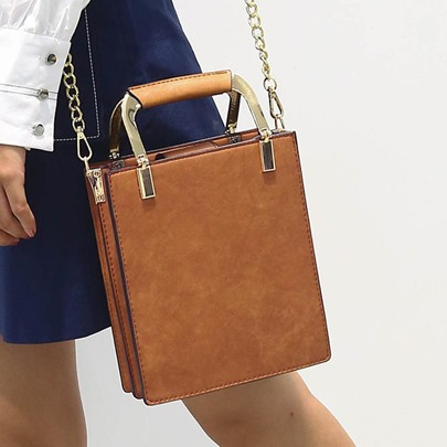 Square Shape Vintage Solid Color Women Tote