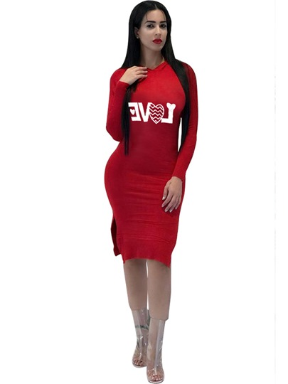 Red Letter Printed Hooded Women's Bodycon Dress