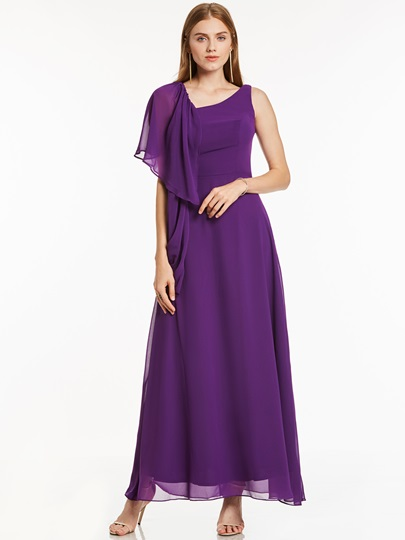 Draped A-Line V-Neck Floor-Length Evening Dress
