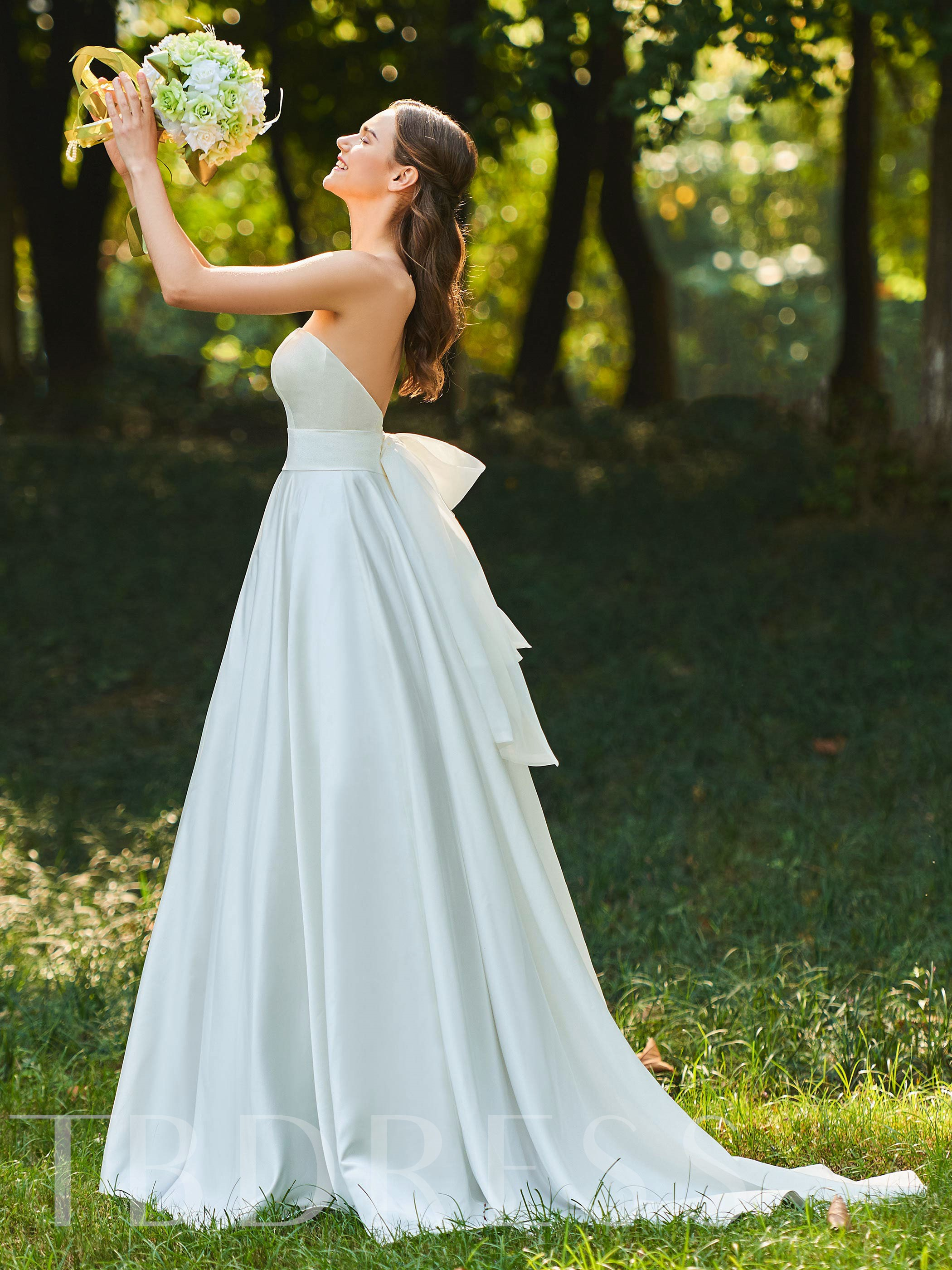Image of A-Line Bowknot Strapless Wedding Dress